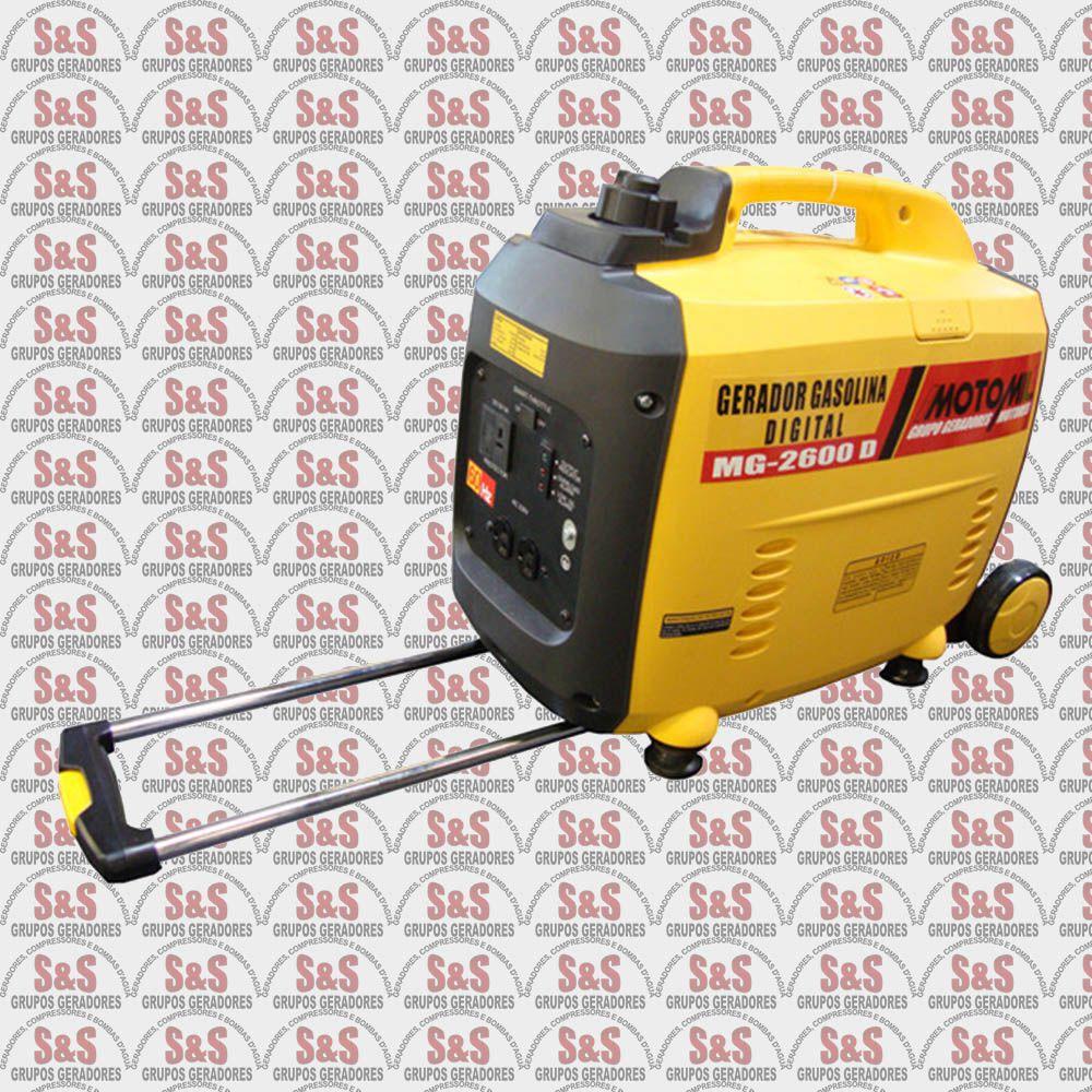Gerador de Energia a Gasolina Digital 2,6 KVA - 220V - Partida Manual - MG2600D - Motomil