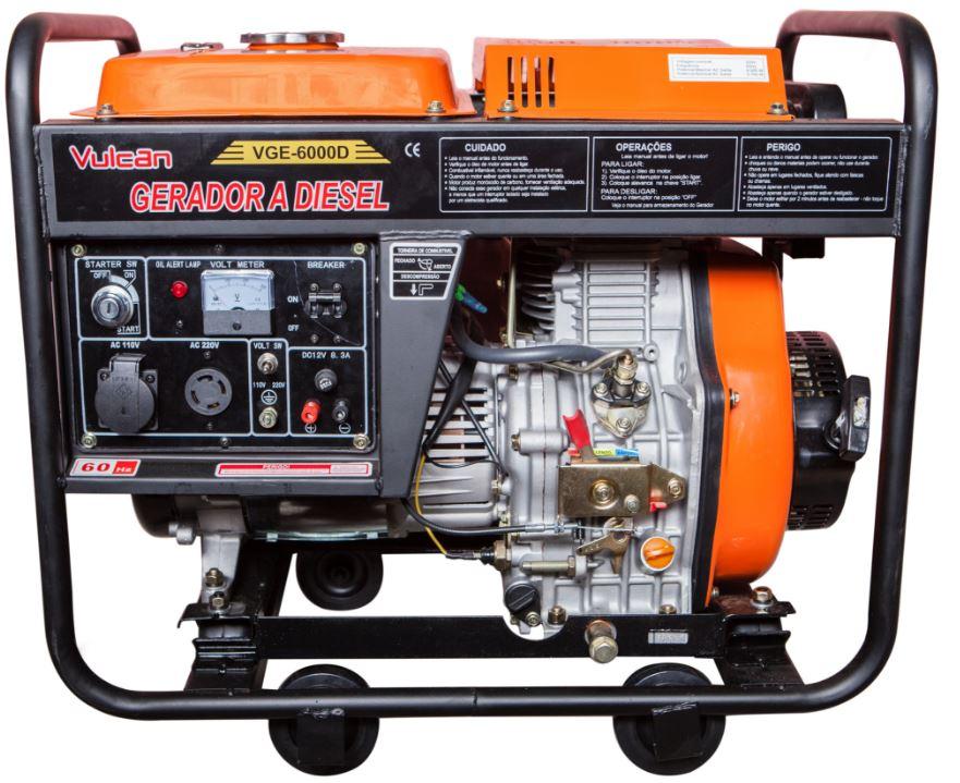 Gerador de Energia a Diesel 7.5KVA – Partida Eletrica - VGE6000D - Vulcan