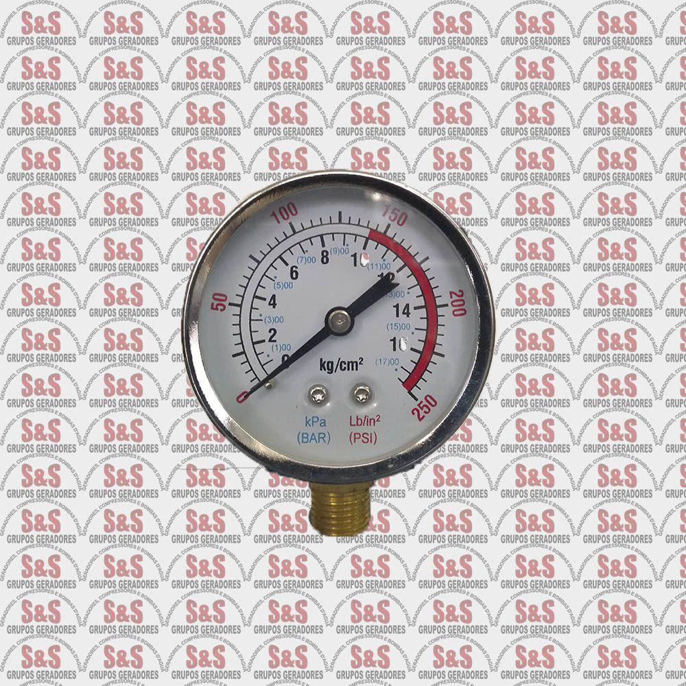 Manômetro Compressor de Ar Vertical MÁX.140 PSI