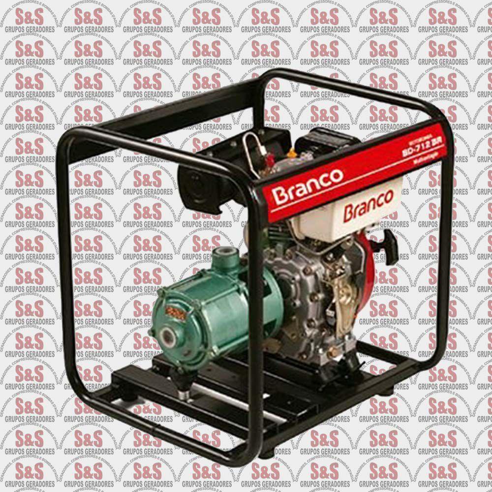 """Motobomba a Diesel de 1"""" x1"""" Polegadas - Multiestagio - Motor de 5,0 CV - Partida Manual - BD712 BR - Branco"""