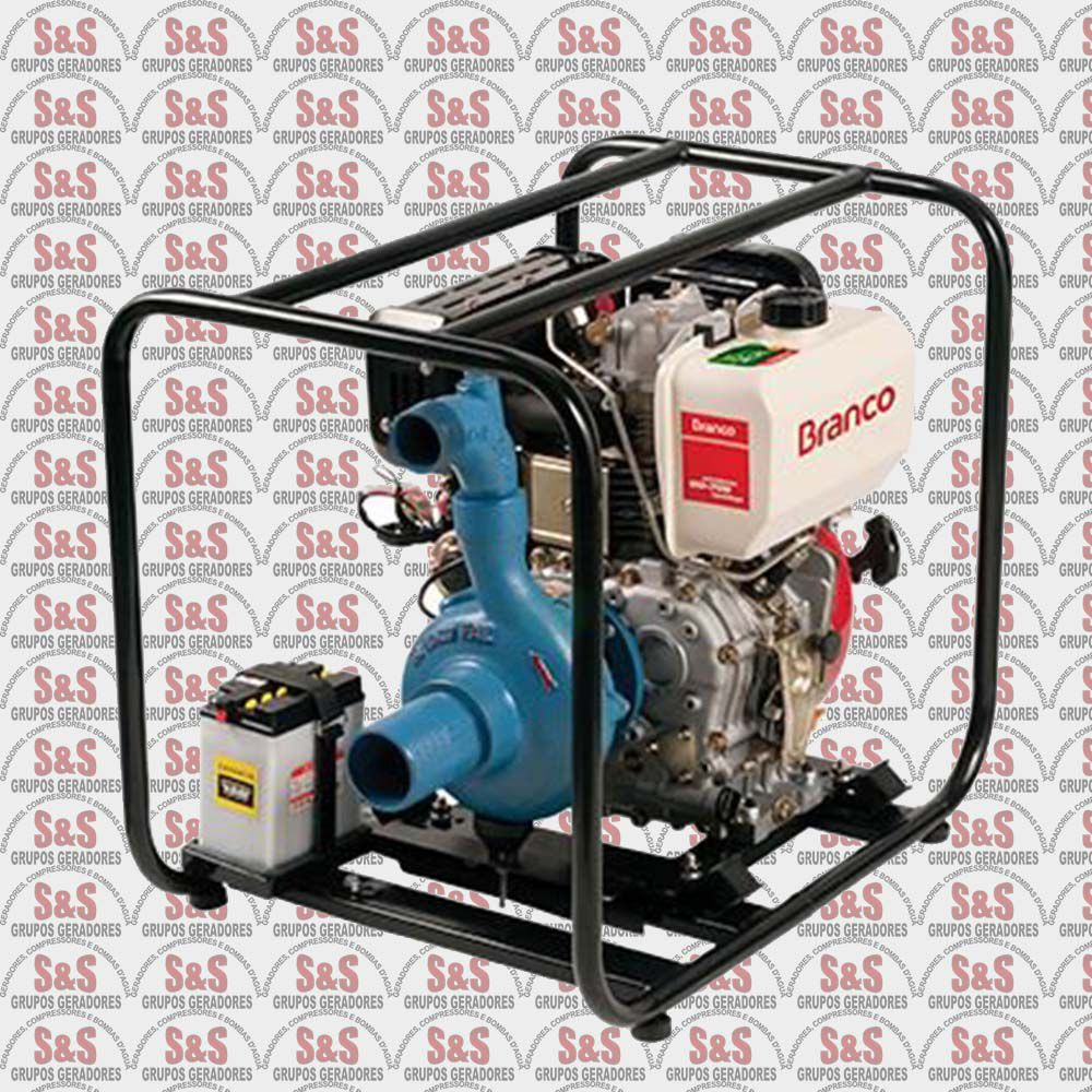 """Motobomba a Diesel de 3"""" x 2"""" Polegadas - Auto-Escorvante - Motor de 10,0 CV - Partida Manual - BD709 - Centrifuga - Branco"""
