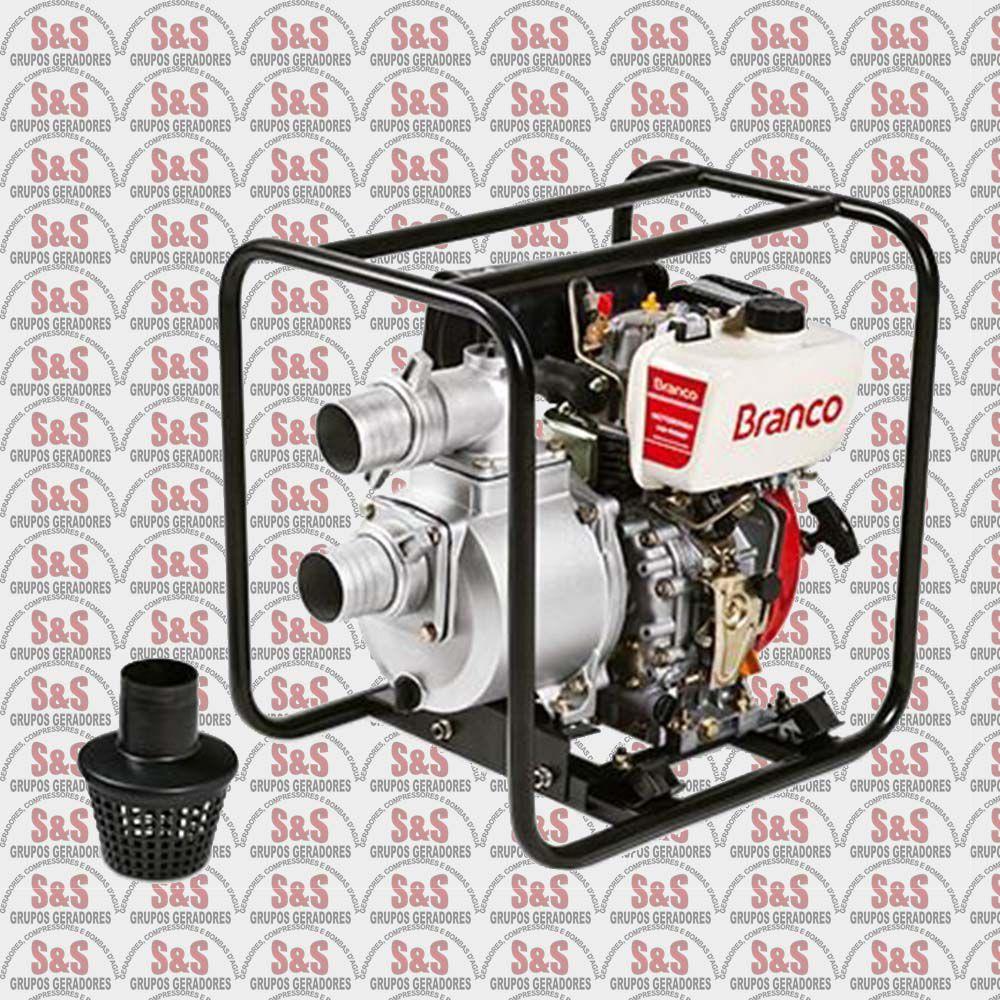 """Motobomba a Diesel de 3"""" x 3"""" Polegadas - Auto-Escorvante - Motor de 7,0 CV - Partida Manual - BD705 CF - Branco"""