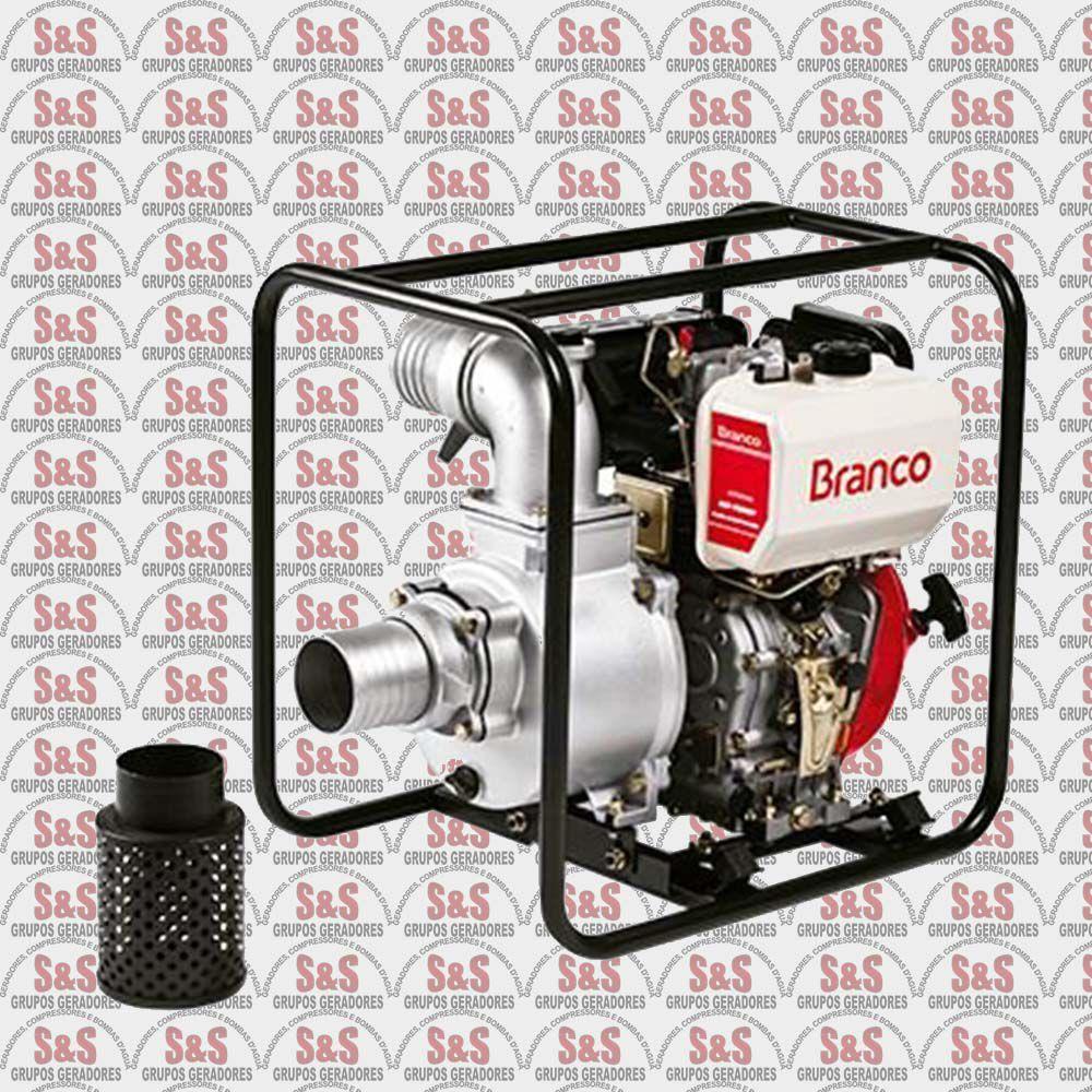 """Motobomba a Diesel de 4"""" x 4"""" Polegadas - Auto-Escorvante - Motor de 10,0 CV - Partida Manual - BD700 CF - Branco"""
