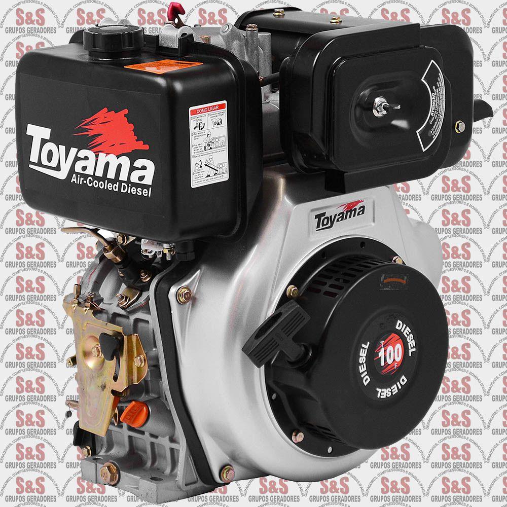 """Motor a Diesel - 4 Tempos - 10 HP - Eixo 1"""" - TD100F - Toyama"""