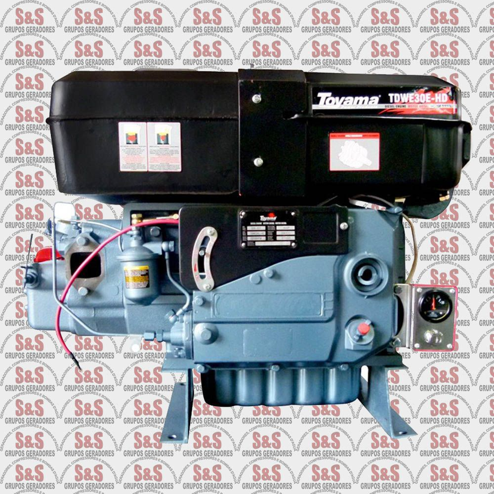 Motor a Diesel - 4 Tempos - 30 HP - Refrigerado a água por sifão - Partida Elétrica - Heavy Duty - TDWE30EHD-XP - Toyama