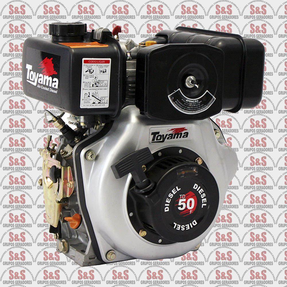 """Motor a Diesel - 4 Tempos - 4.7 HP - Partida manual - Eixo 3/4"""" com redução 2:1 - TD50FS - Toyama"""