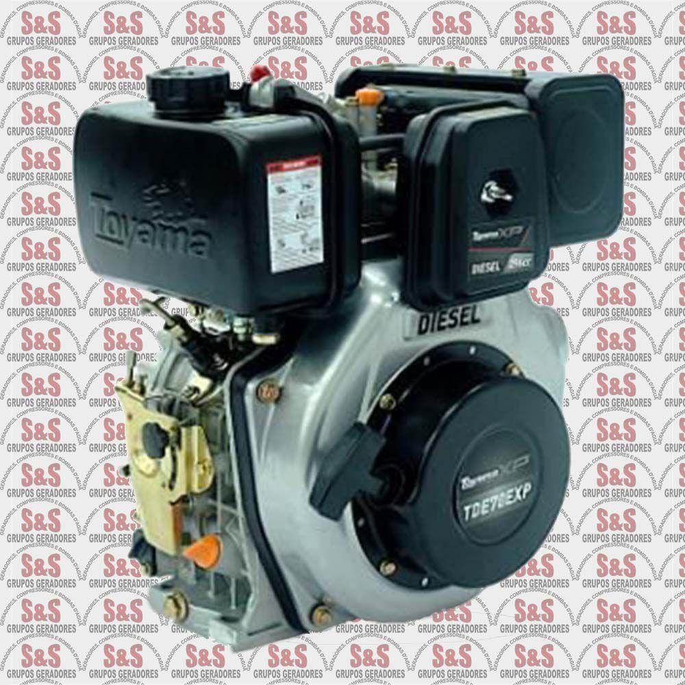 "Motor a Diesel - 4 Tempos - 6.7 HP - Eixo 1"" - Partida Elétrica - TDE70EXP - Toyama"