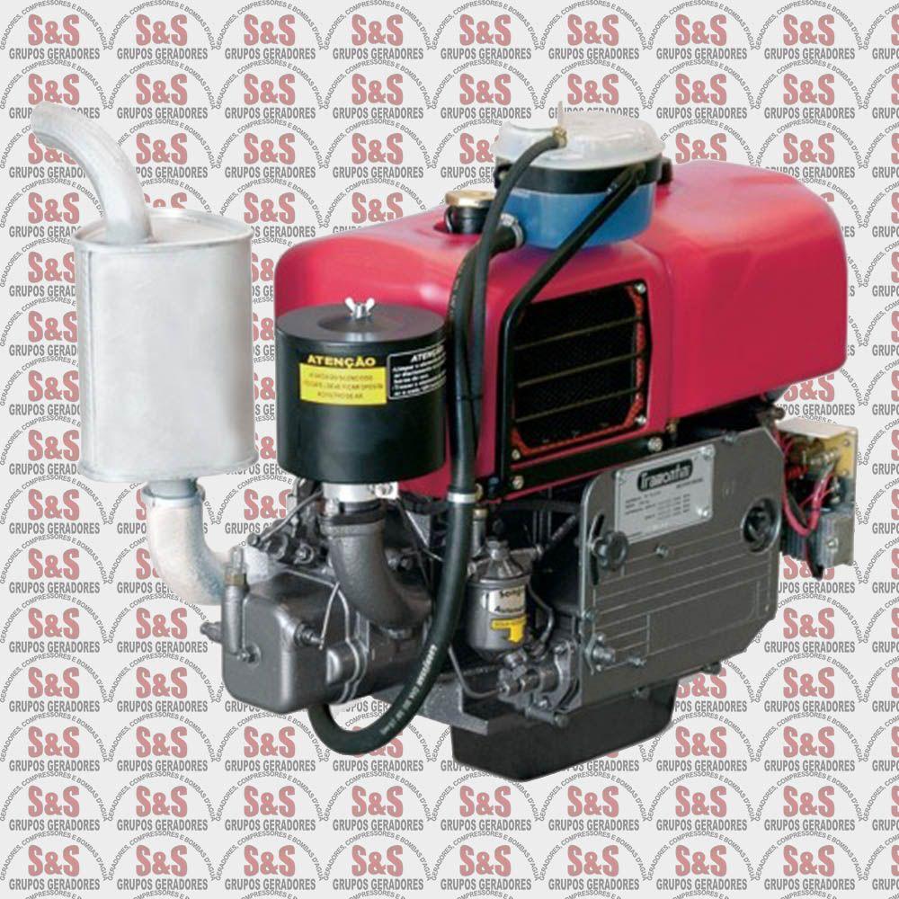 Motor a Diesel - 4 Tempos - Refrigerado a Ar - 16.5 CV - Partida Manual/Eletrica - Horizontal - TR18R - Tramontini