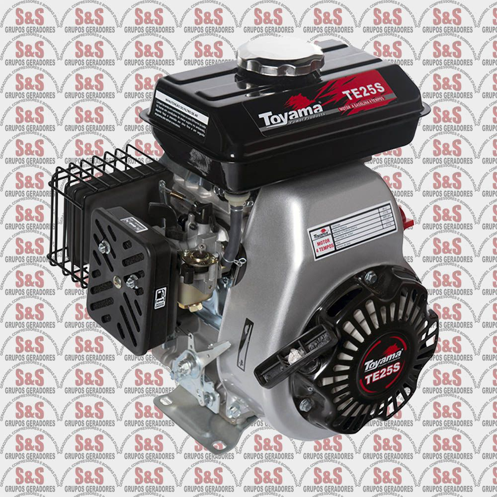 Motor a Gasolina - 4 Tempos - Motor 98cc 2,5 HP - Refrigerado a Ar - TE25S - Toyama