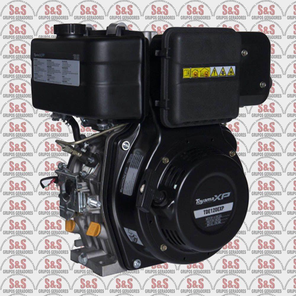 """Motor Estacionario a Diesel - 4 Tempos - 11 HP - Eixo 1"""" Partida Eletrica - TDE120EXP - Toyama"""