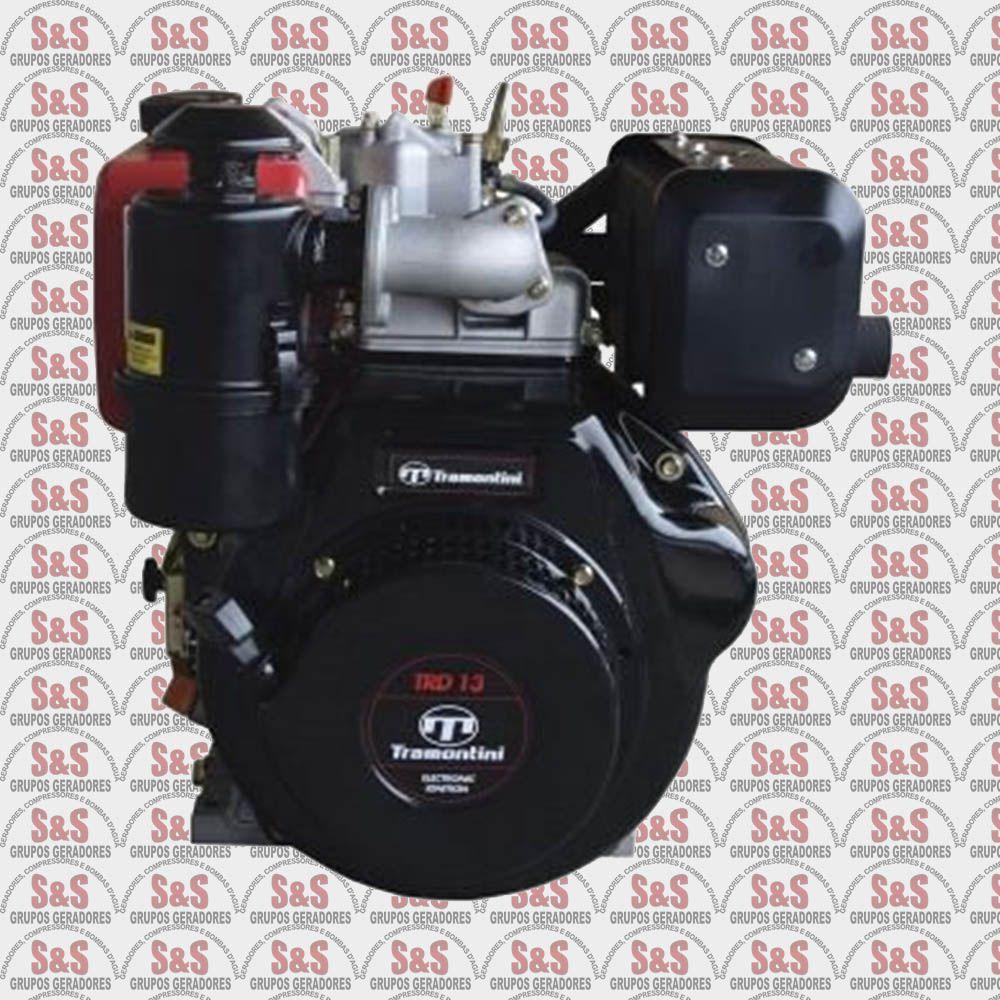 Motor Estacionario a Diesel - 4 Tempos - Refrigerado a Ar - 12.5 CV - Partida Manual/ Eletrica - TRD13 - Tramontini