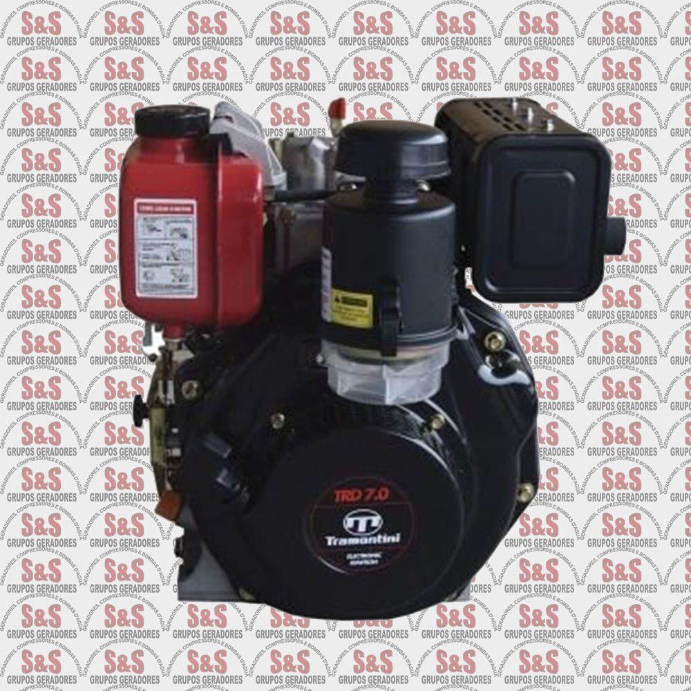 Motor Estacionario a Diesel - 4 Tempos - Refrigerado a Ar - 6.7 CV - Partida Manual - TRD7.0 - Tramontini