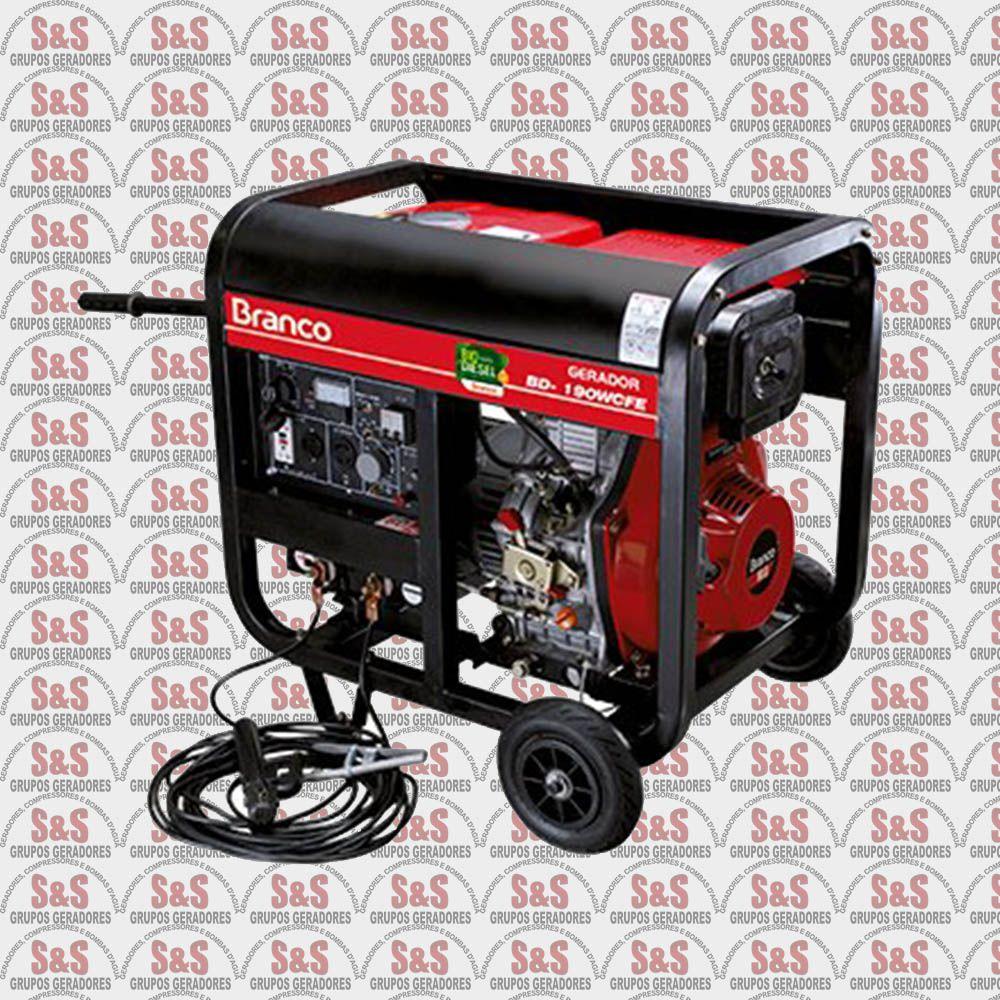 Motosoldador/Gerador a Diesel 2.2 KVA - Monofásico - Partida Elétrica - BDW190E - Branco