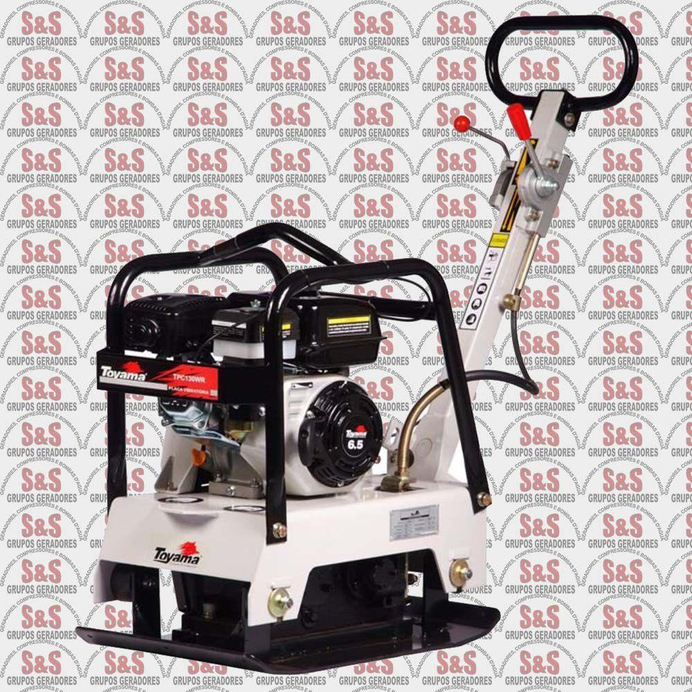 Placa Vibratória Reversível a Gasolina - Motor de 6,5 HP - 4 Tempos - Tanque de 4,0 L - TPC130WR - Toyama