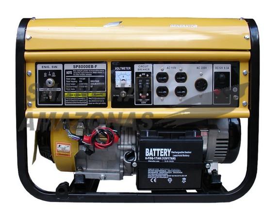 Gerador de energia a Gás Monofásico 8 KVA - Partida Elétrica - SP8000EB LPG - Shanghai Amazonas