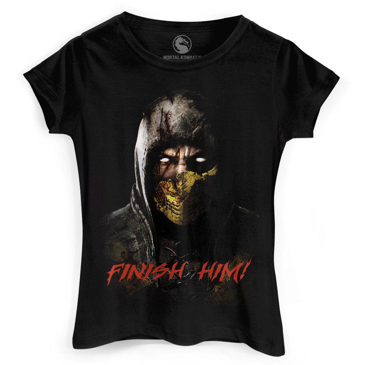 Camiseta Feminina Mortal Kombat X Finish Him  - bandUP Store Marketplace