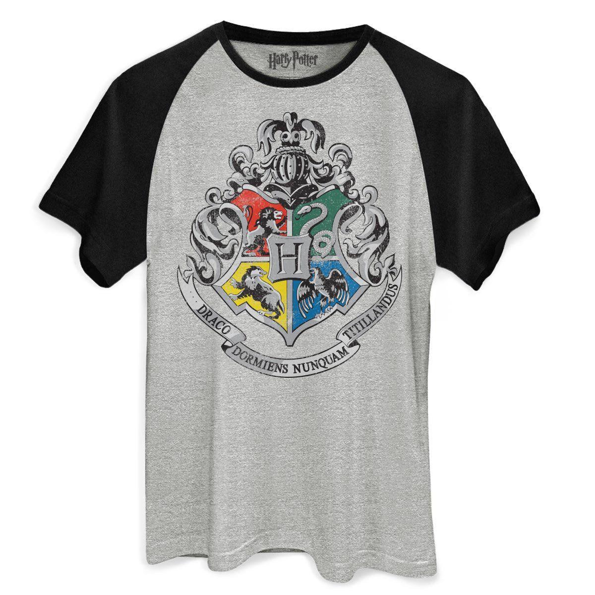 Camiseta Raglan Masculina Harry Potter Brasão de Hogwarts  - bandUP Store Marketplace