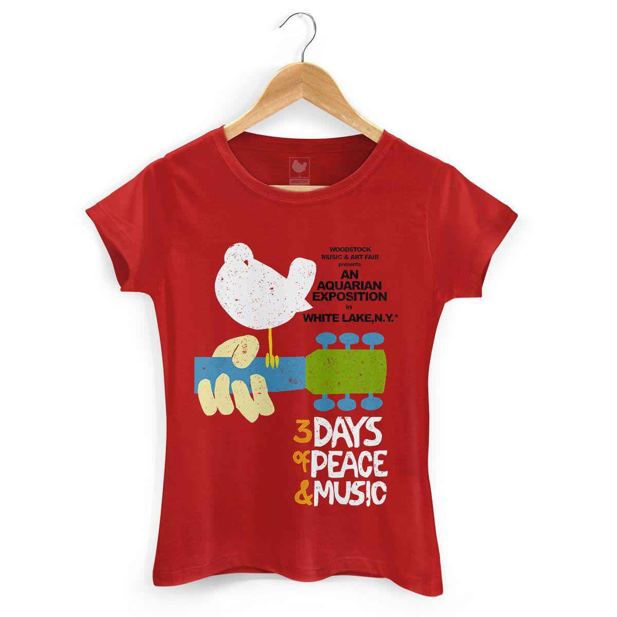 Camiseta Feminina Woodstock Poster  - bandUP Store Marketplace