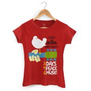 Camiseta Feminina Woodstock Poster