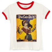 Camiseta Ringer Feminina Wonder Woman She Can Do It!