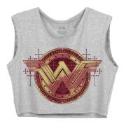 Blusa Cropped Feminina Wonder Woman Gold Logo