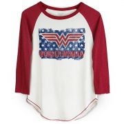 Camiseta Raglan Feminina Wonder Woman Flag