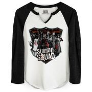 Camiseta Manga Longa Feminina Esquadrão Suicida Deniable Expendable