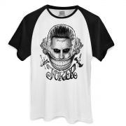 Camiseta Raglan Masculina Esquadrão Suicida The Joker Damaged