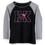 Camiseta Manga Longa Feminina Hello KItty HK Pink Glasses