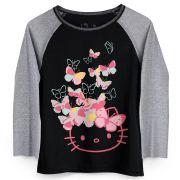 Camiseta Manga Longa Feminina Hello KItty Butterflies Party