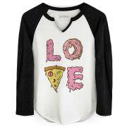 Camiseta Manga Longa Feminina TodaTeen Love Pizza