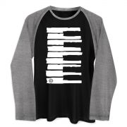 Camiseta Raglan Masculina Dudu Borges Musical Keyboard