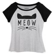 Camiseta Raglan Feminina TodaTeen Meow