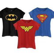 Kit com 3 Camisetas FEMININAS DC Comics Batman Wonder Woman Supergirl