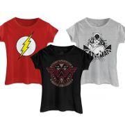 Kit com 3 Camisetas Femininas DC Comics The Flash Wonder Woman Catwoman