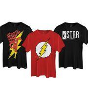 Kit com 3 Camisetas Masculinas The Flash Corre Senão Acaba!