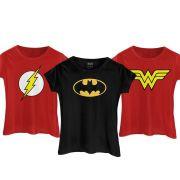 Kit com 3 Camisetas Femininas As Indispensáveis Para as Heroínas