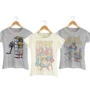 Kit com 3 Camisetas Femininas Supercool