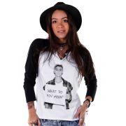 Camiseta Manga Longa Feminina Justin Bieber What Do You Mean