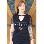 Camiseta Chocker Feminina Pitty Foda-se