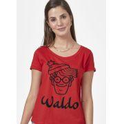 Camiseta Feminina Aonde Está o Wally? Waldo Face