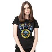 Camiseta Feminina Guns N' Roses Skull Band Oficial