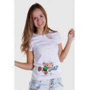 Camiseta Feminina Turma da Mônica Kids Cebolinha Fugindo