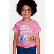 Camiseta Infantil Turma da Mônica Catíoro e Gatíneo e Porquíneo