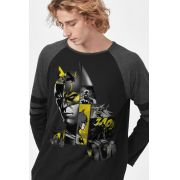 Camiseta Manga Longa Masculina Batman As Faces de Batman
