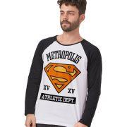 Camiseta Manga Longa Masculina Superman Metrópolis