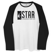 Camiseta Manga Longa Raglan Masculina The Flash Star Laboratories