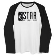 Camiseta Manga Longa Raglan Masculina The Flash Star Laboratories