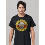 Camiseta Masculina Guns N' Roses Logo Bullet