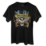 Camiseta Masculina Guns N' Roses Logo Skull Oficial